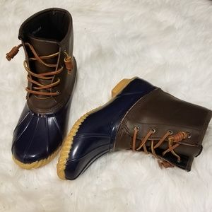 Navy & Brown Leather Duck Boots, Snow & Rain